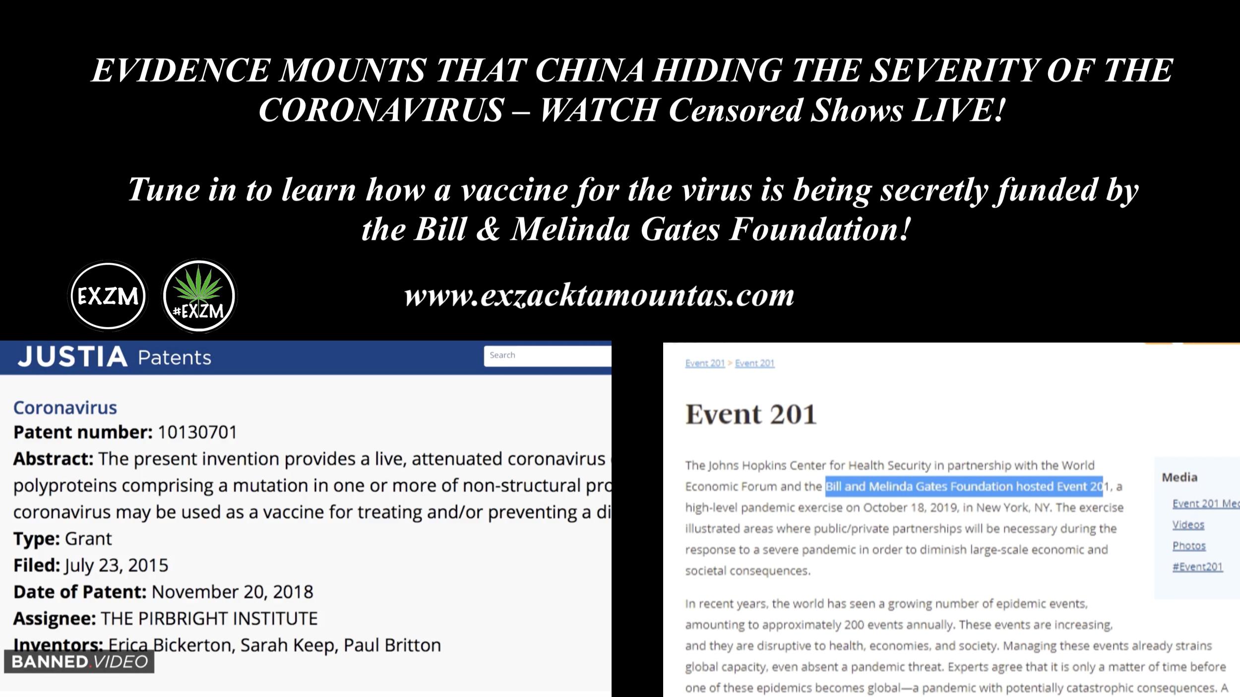 Bill Melinda Gates Coronavirus Patent Infowars show 1 23 2020