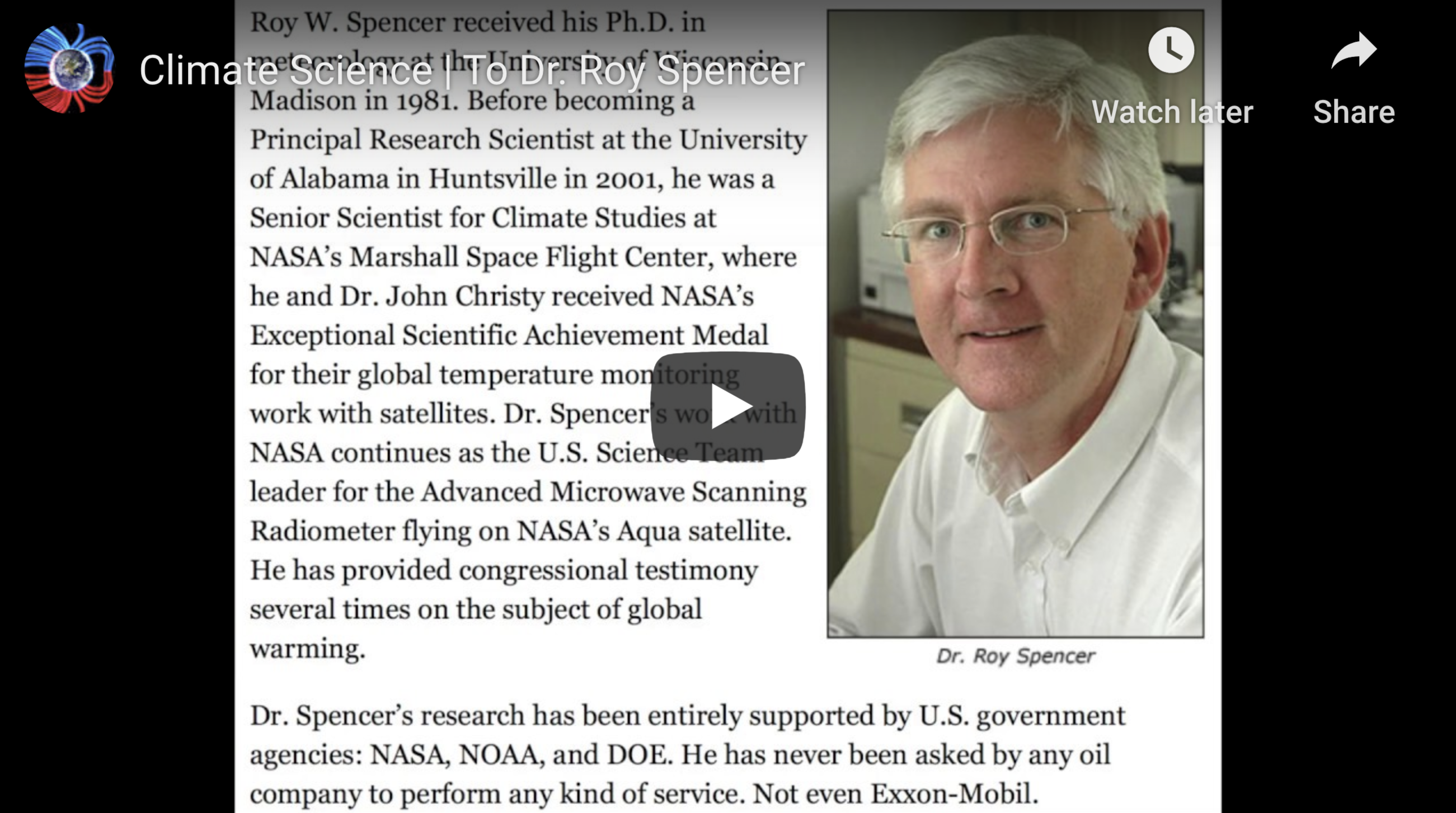 Climate Science To Dr Roy Spencer May 18th 2020