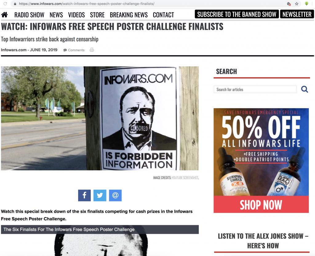 Infowars Free Speech Poster Contest Finalists 6 19 2019 1