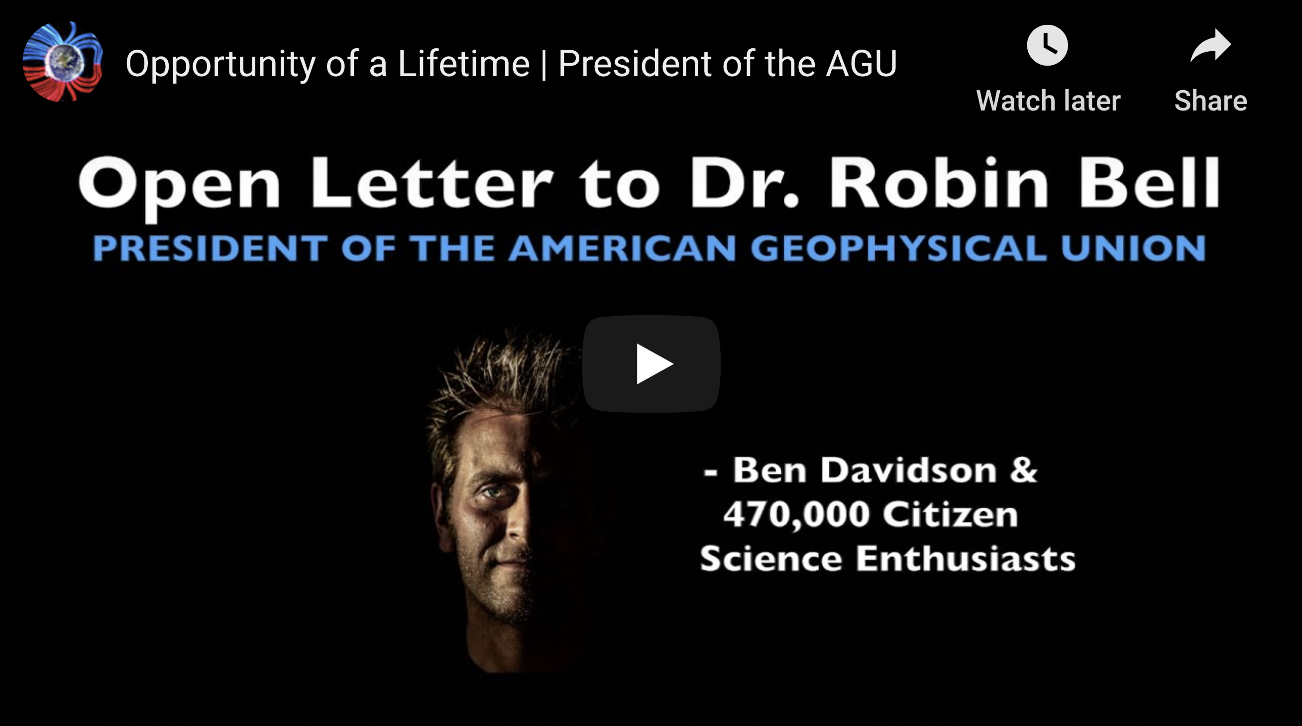 Opportunity of a Lifetime President of the AGU 6 22 2020