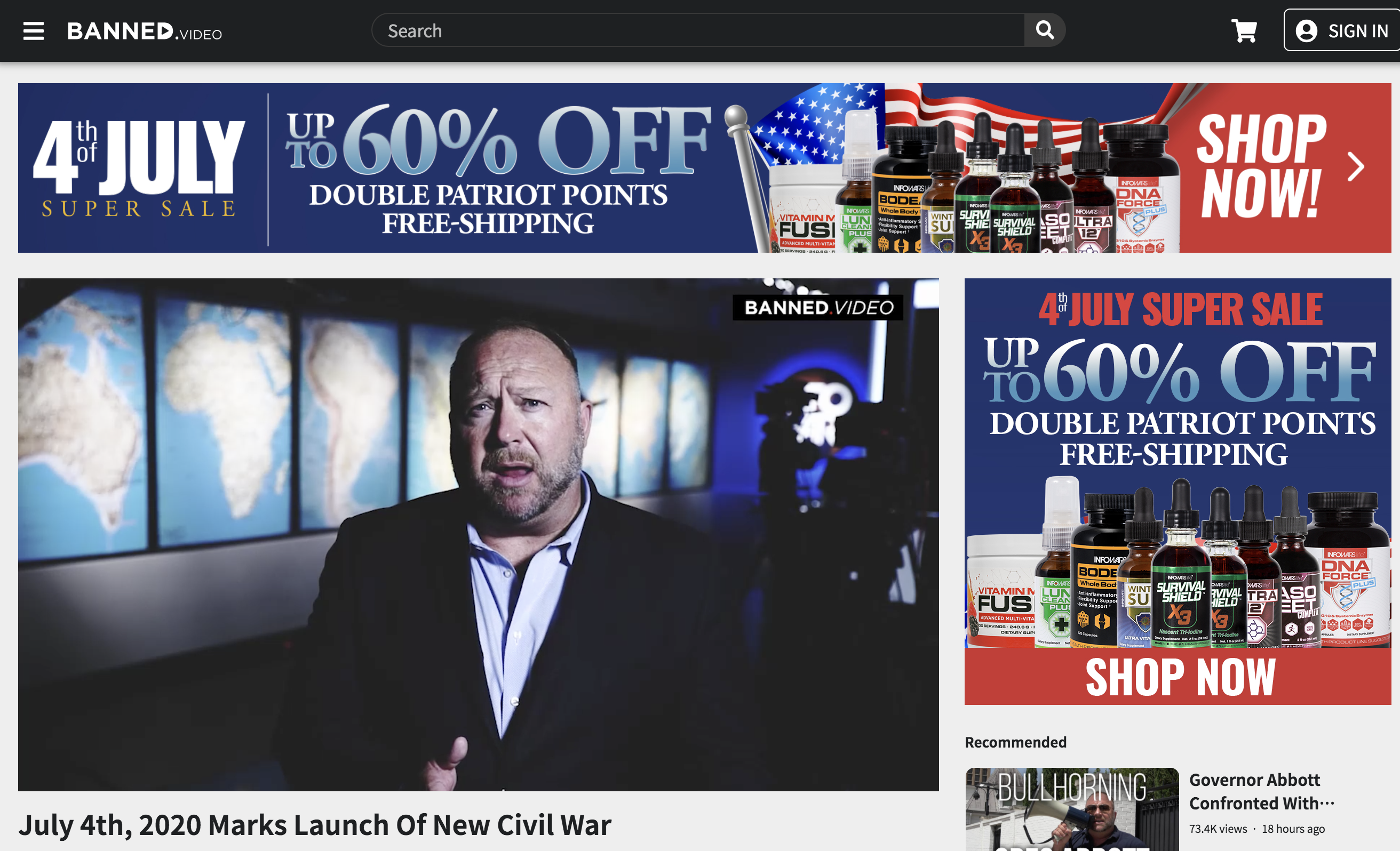 Alex Jones Banned Video Infowars 4th of July 2020