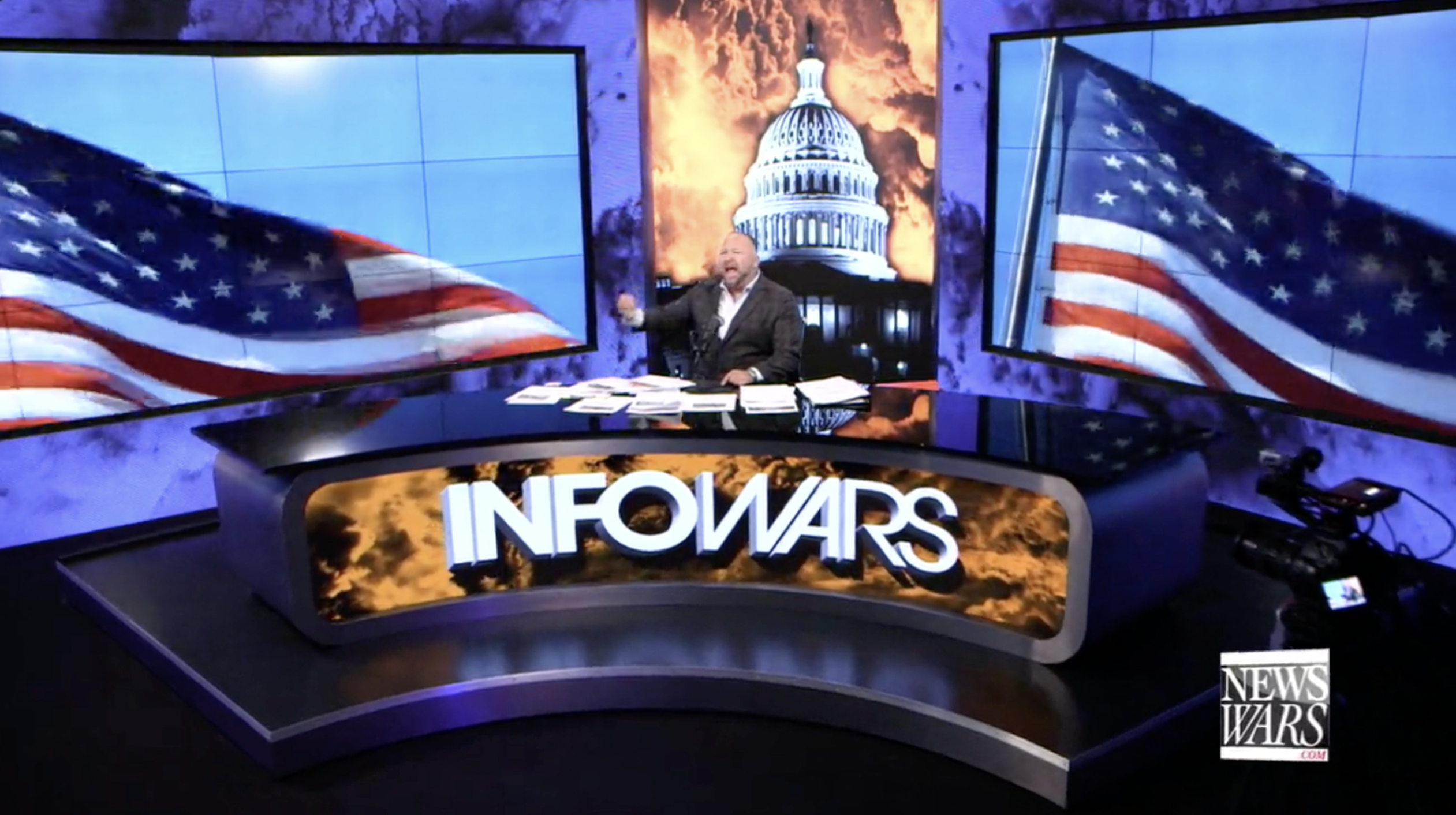 Alex Jones Infowars Studio American Flag Flags July 1st 2020