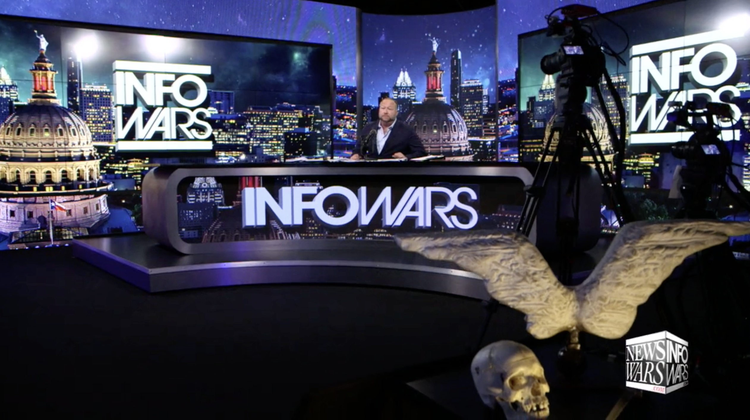 Alex Jones Infowars Studio Angel Wings Human Skull EXZM July 31st 2020