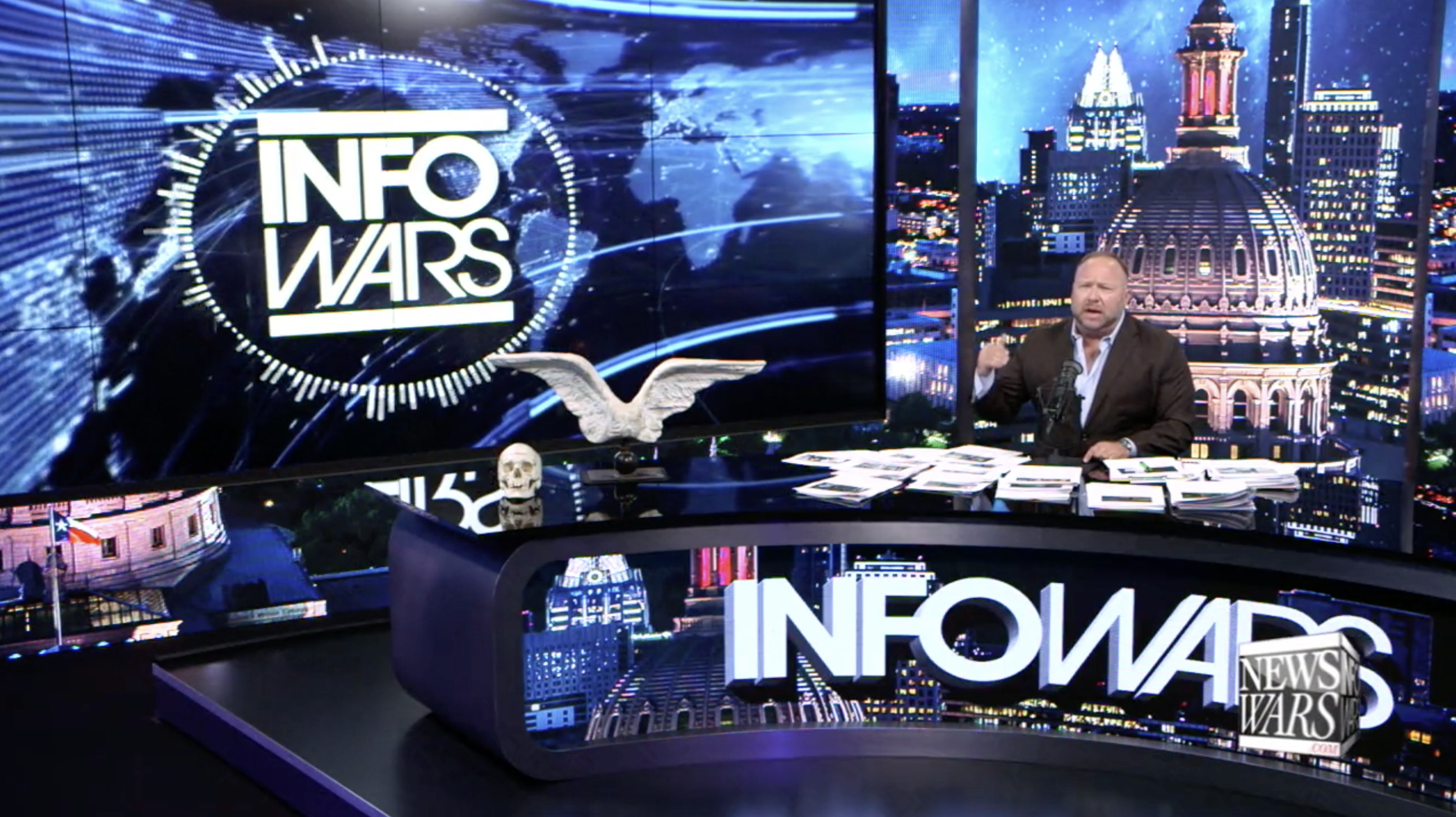 Alex Jones Infowars Studio EXZM Skull Angel wings July 13th 2020