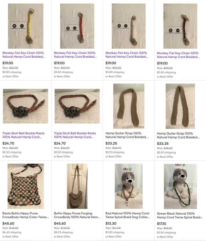 EXZM Hemp products Dog Collars Monkey Fist Keychains Belts Purses July 23rd 2020 1