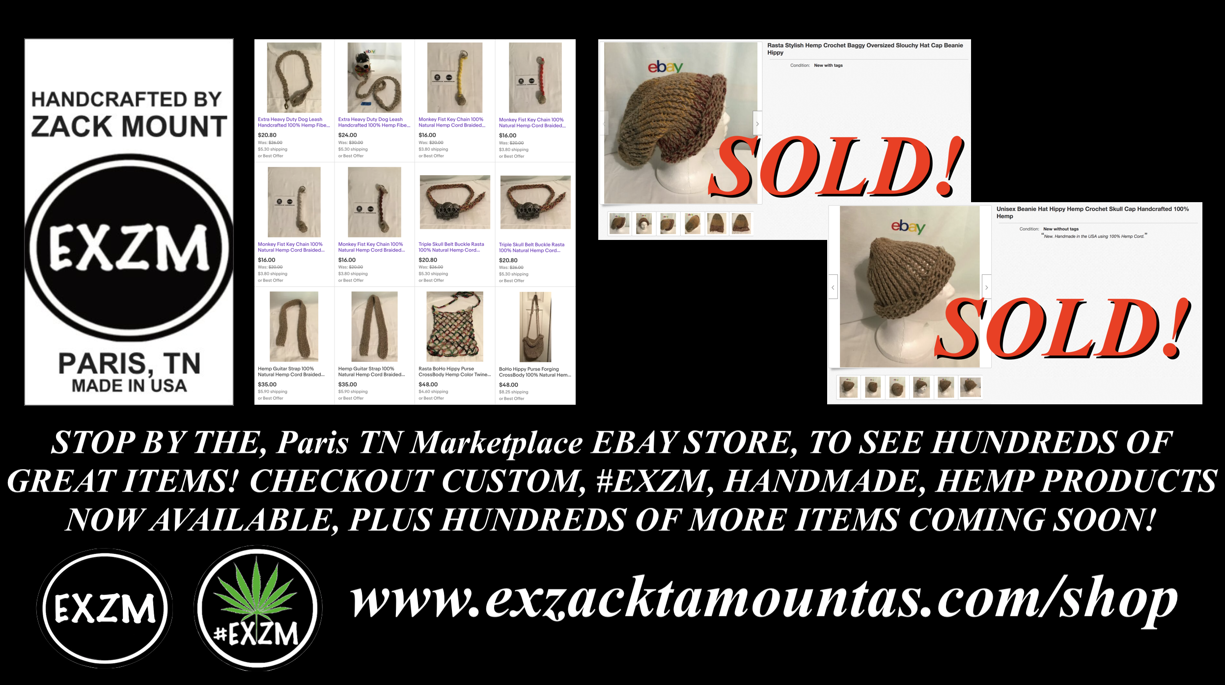EXZM Shop Custom Handmade Hemp Products Sold EBAY Paris TN Marketplace July 18th 2020