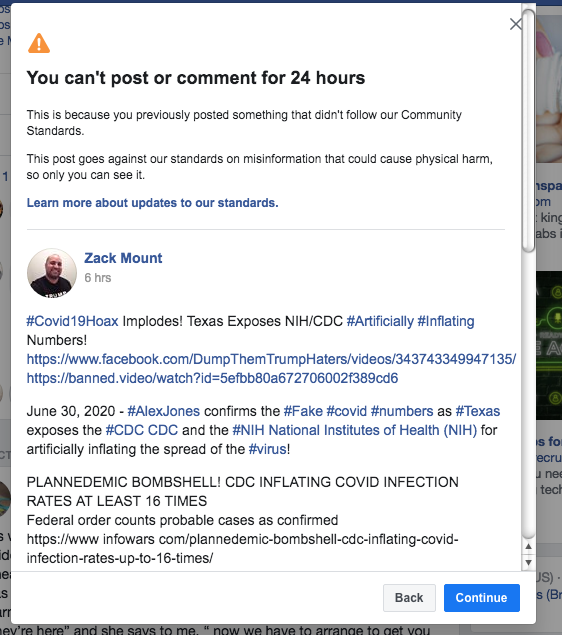Facebook banned me for 24 hours July 1st 2020 2