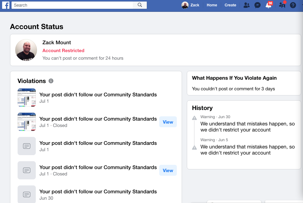 Facebook banned me for 24 hours July 1st 2020 4