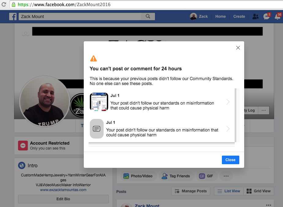 Facebook banned me for 24 hours July 1st 2020 5