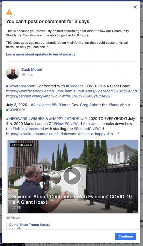 Facebook banned me for 3 days 4th of July 2020 1