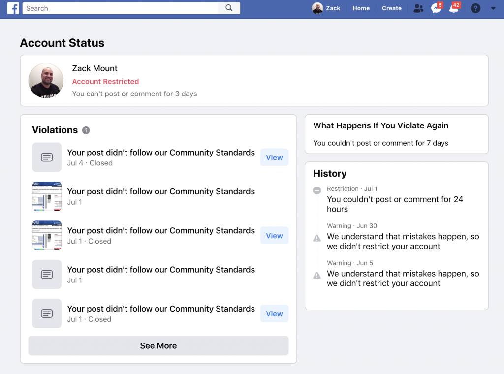Facebook banned me for 3 days 4th of July 2020 6