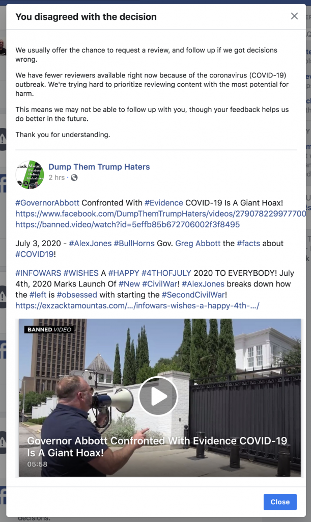 Facebook banned me for 3 days 4th of July 2020 8