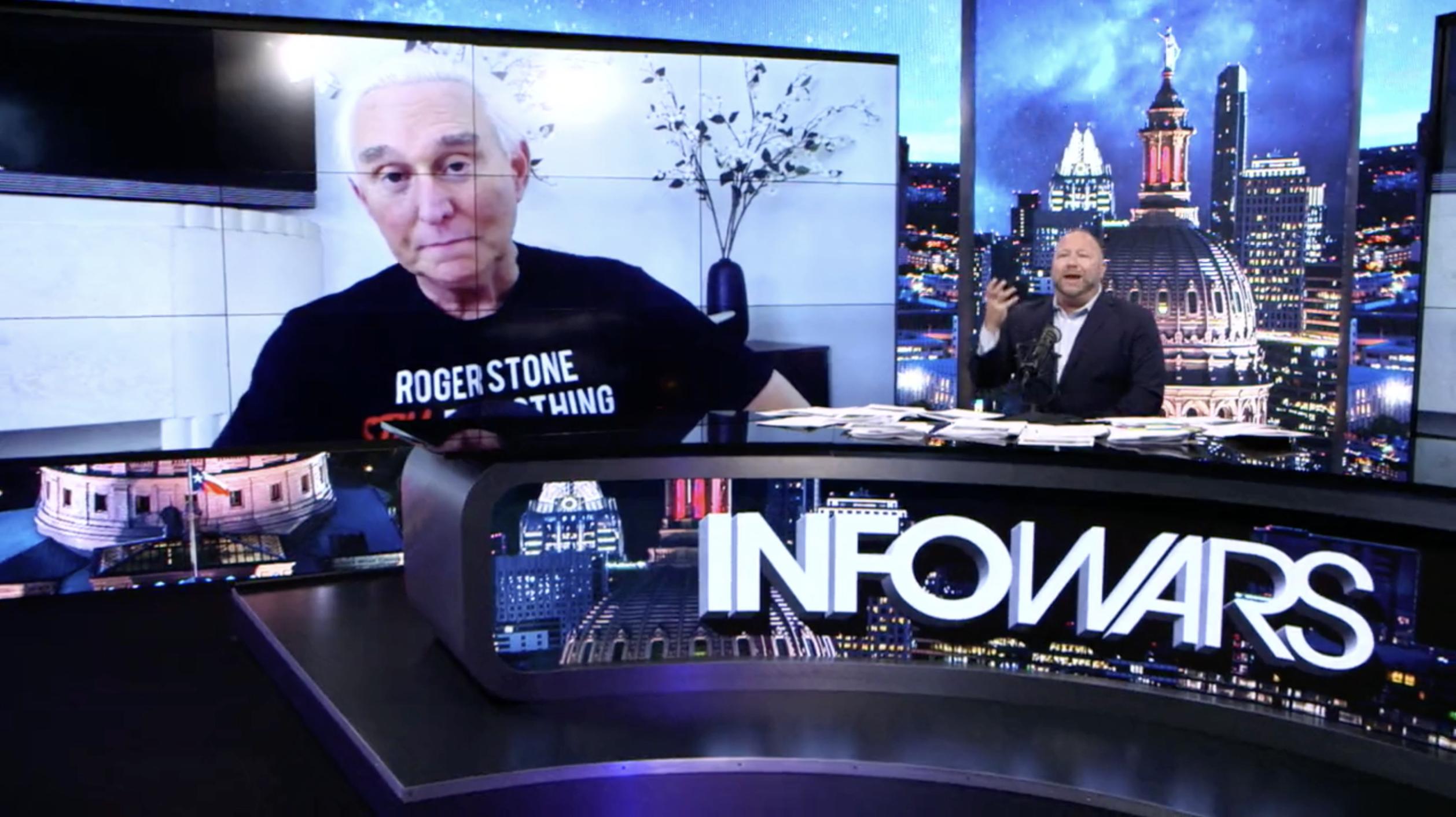 Roger Stone Alex Jones Infowars Studio Trump EXZM July 14th 2020
