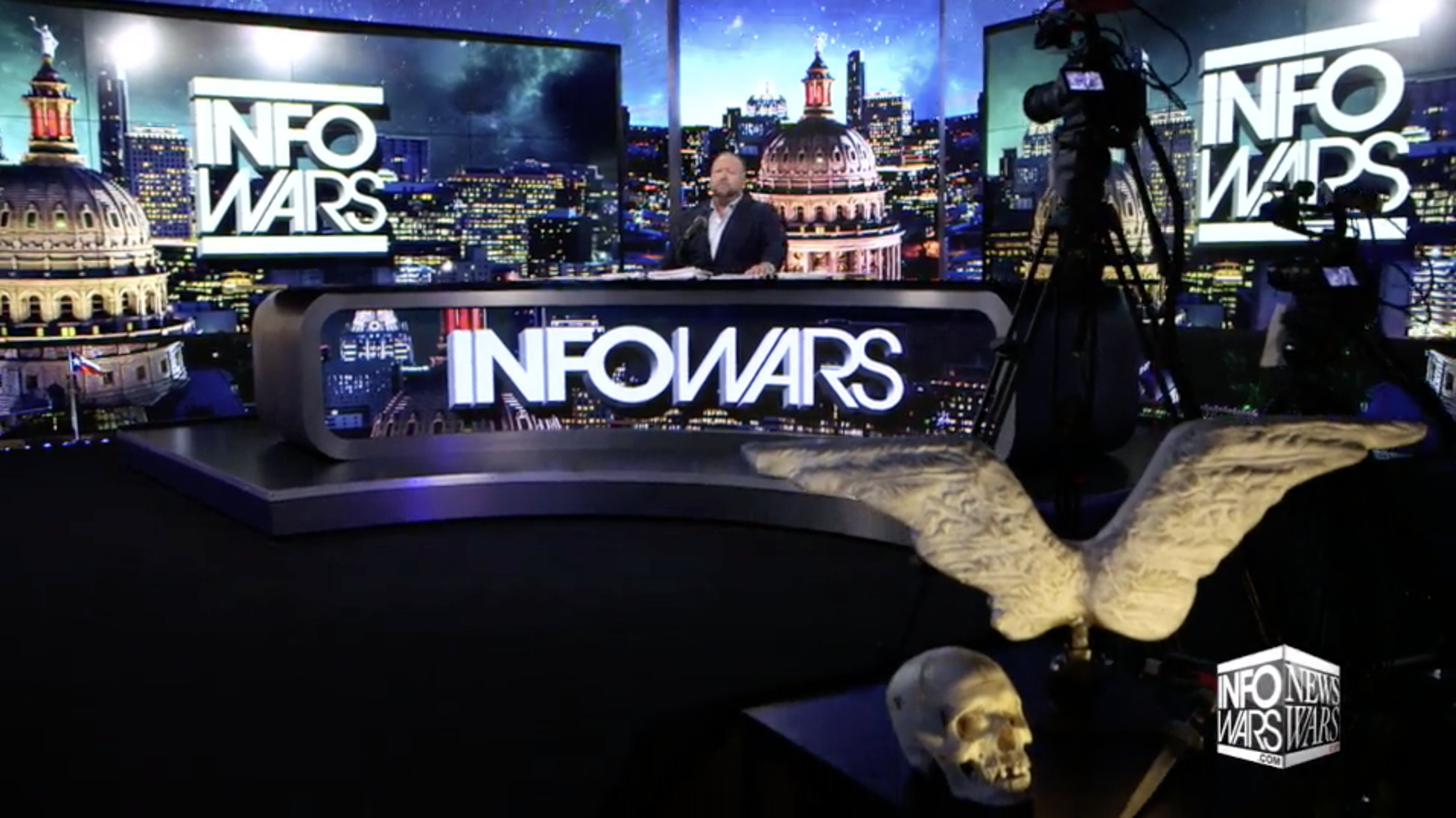 Alex Jones Infowars NewsWars Studio EXZM Angel Wings Skull August 3rd 2020