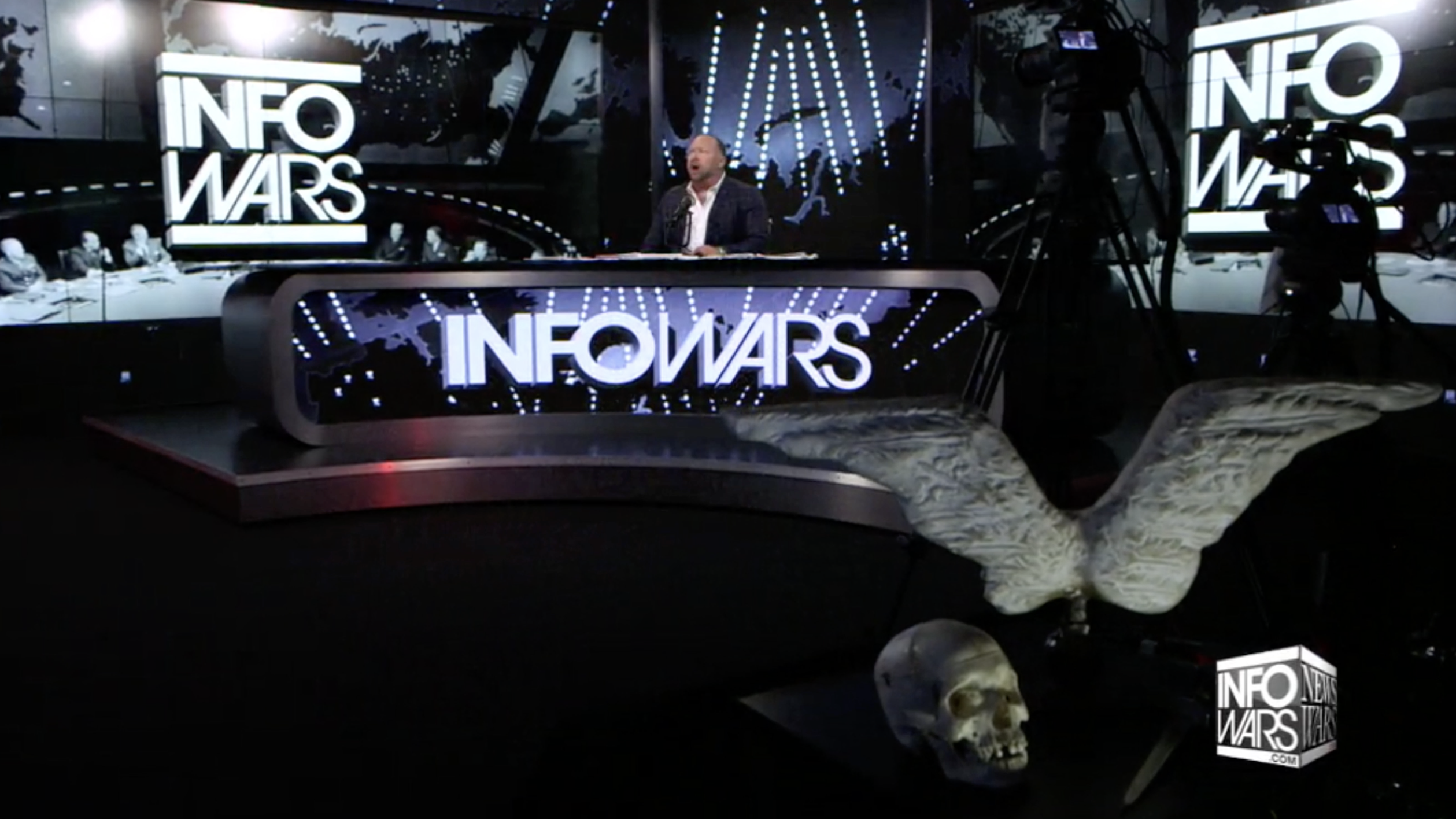Alex Jones Infowars Studio EXZM Angel Wings Skull August 4th 2020