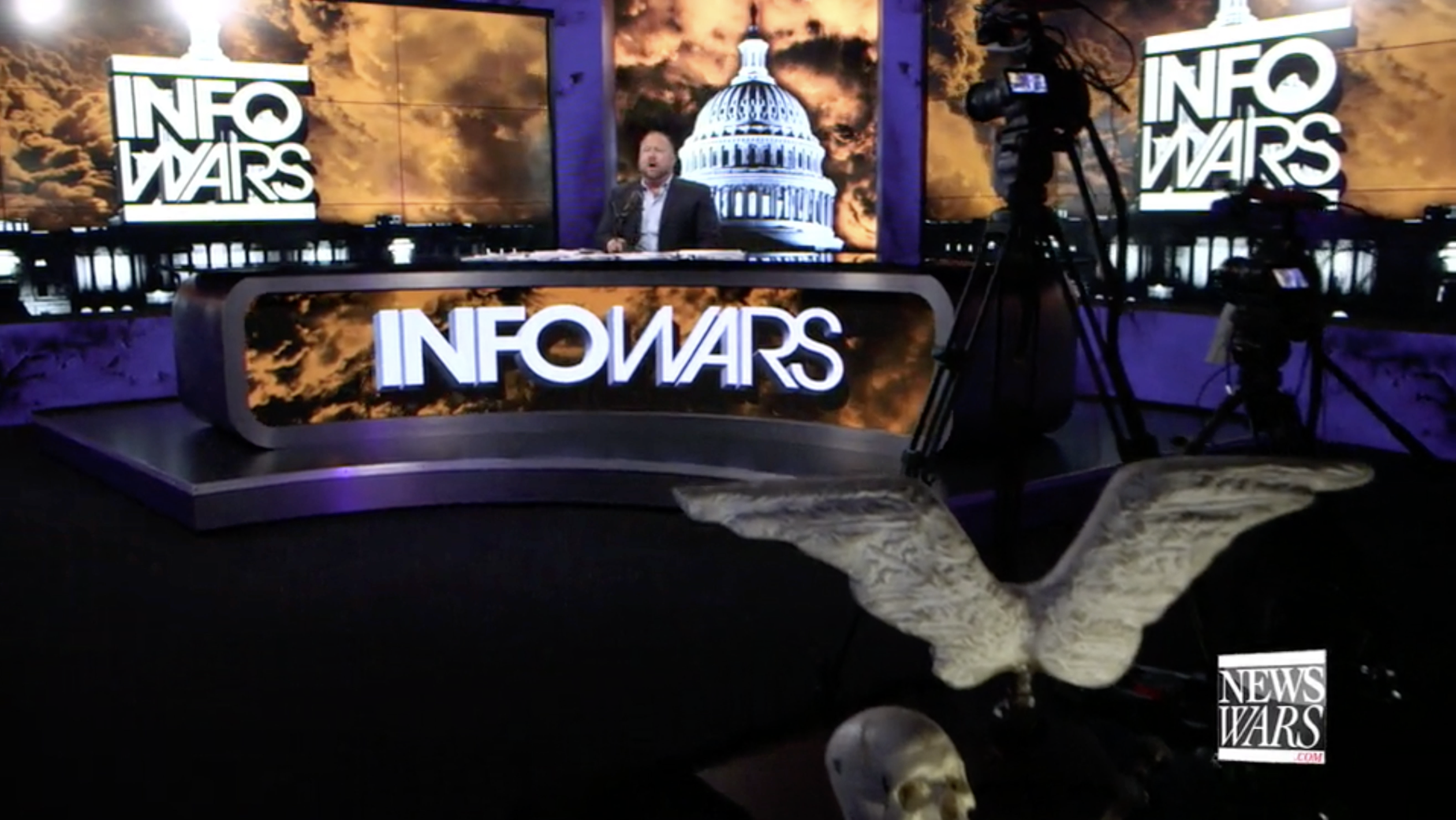 Alex Jones Infowars Studio EXZM Angel Wings Skull August 6th 2020