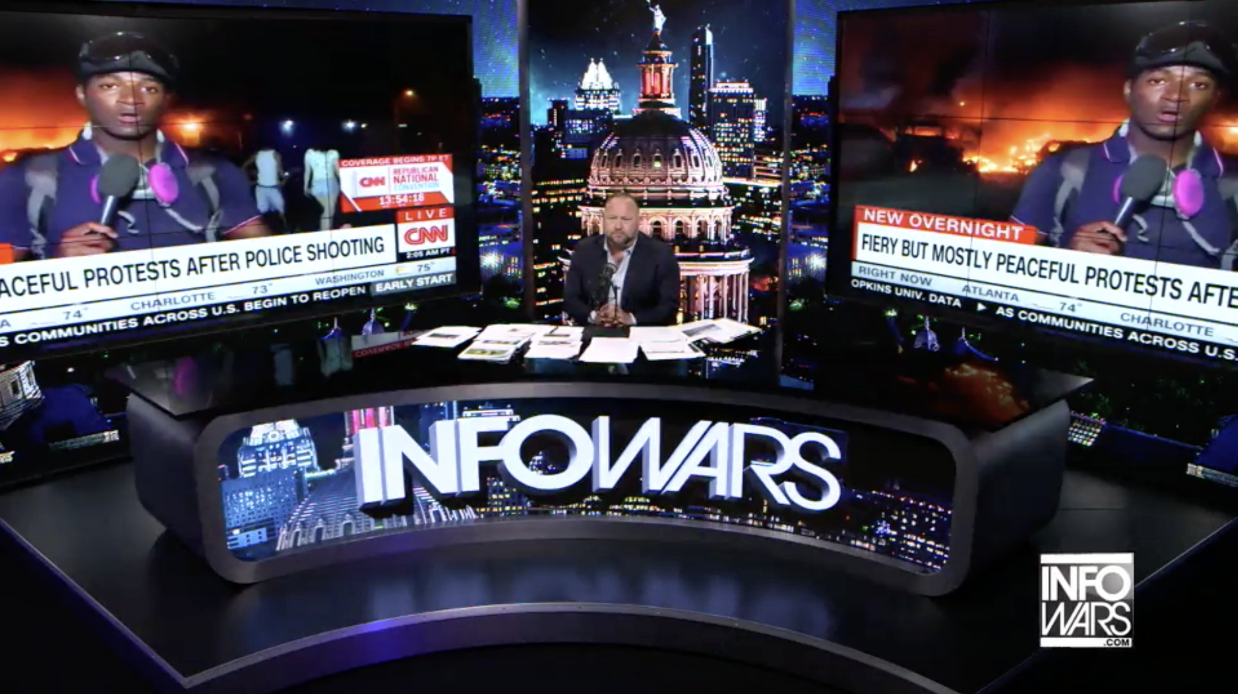 Alex Jones Infowars Studio Riots Cities on Fire CNN EXZM August 27th 2020