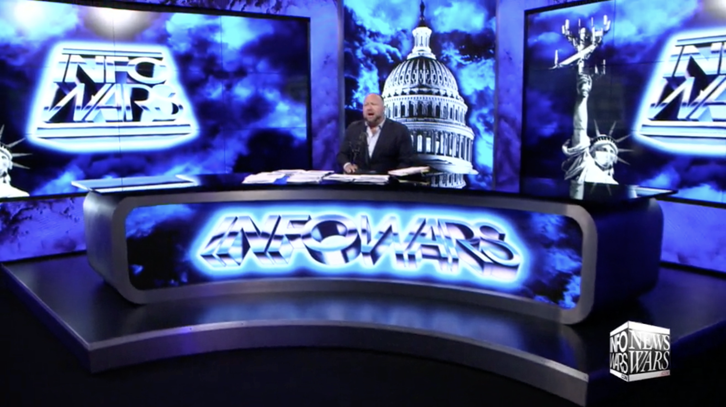 Alex Jones Infowars Studio Stingray Statue of Liberty EXZM August 18th 2020
