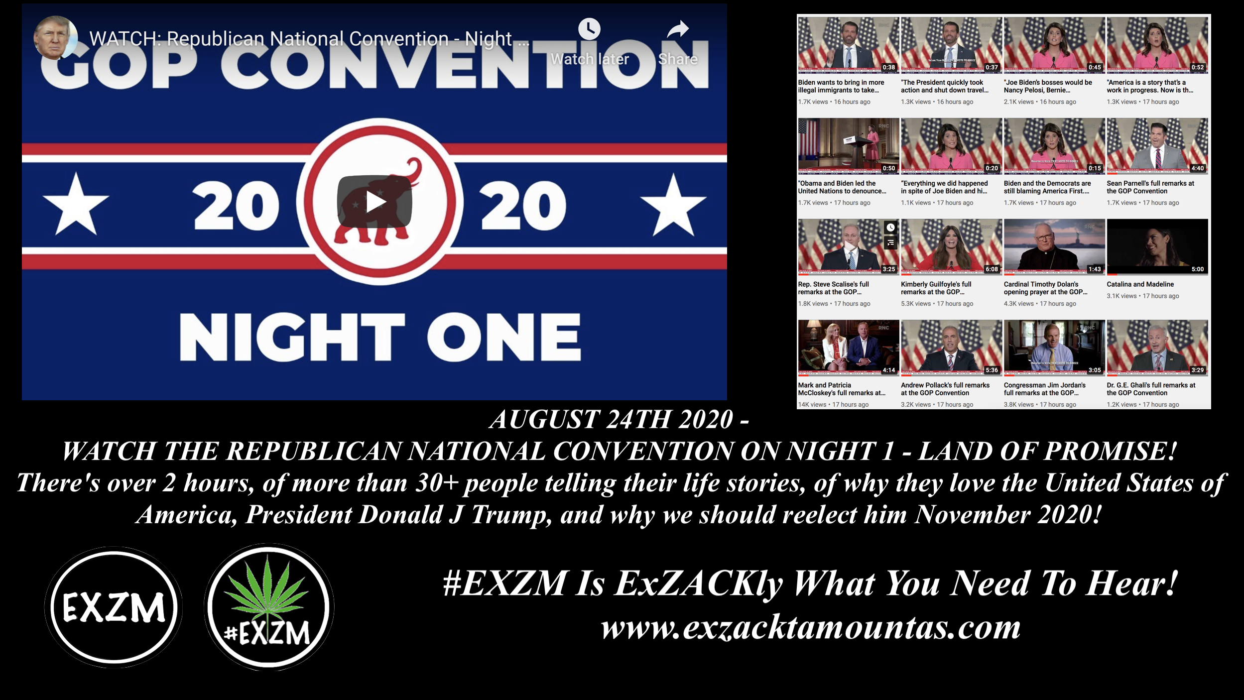 EXZM President Donald Trump RNC Republican National Convention August 24th 2020