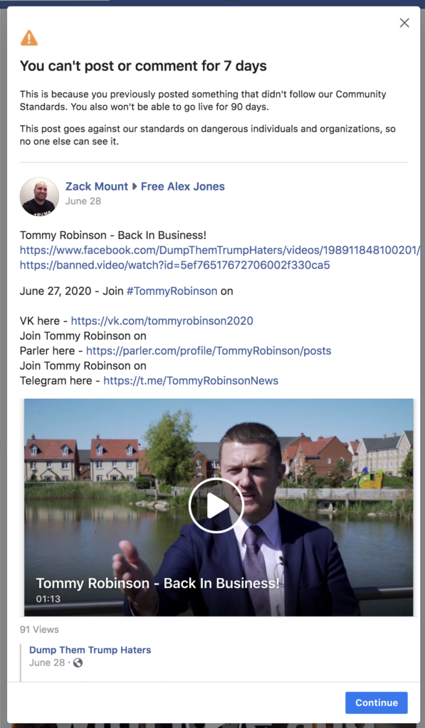 Facebook banned me for 7 days August 2nd 2020 1