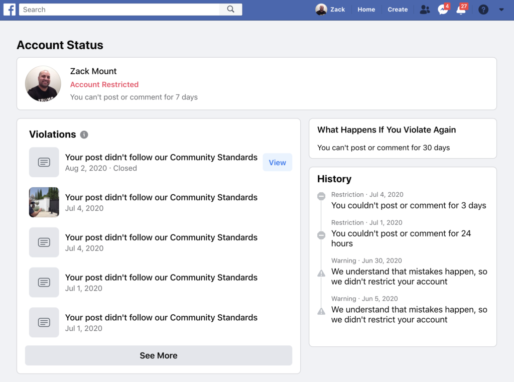 Facebook banned me for 7 days August 2nd 2020 5