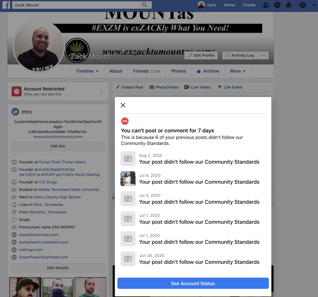 Facebook banned me for 7 days August 2nd 2020 6