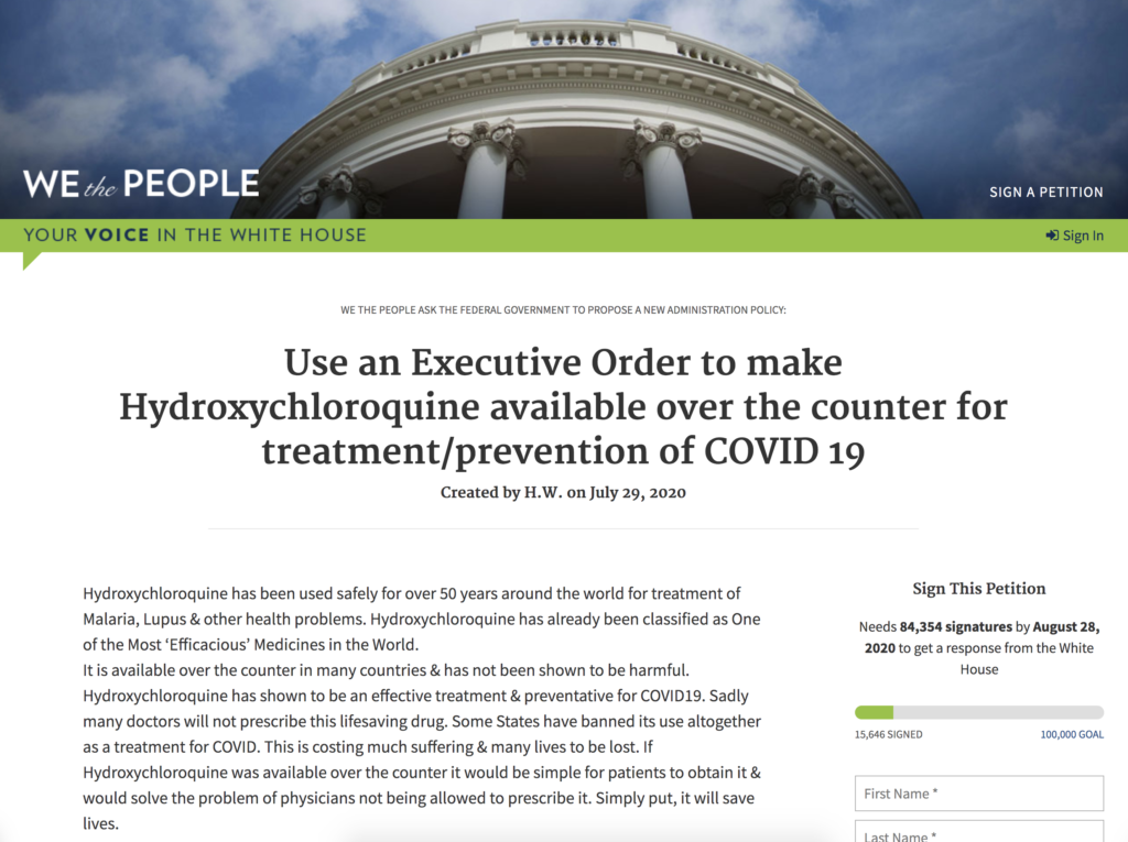 WeThePeople The White House Petition HCQ OTC August 9th 2020