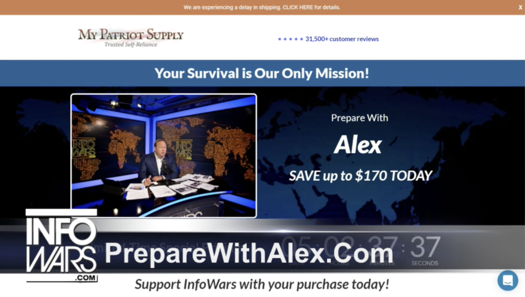 Alex Jones Infowars Studio My Patriot Supply Prepare With Alex EXZM September 16th 2020