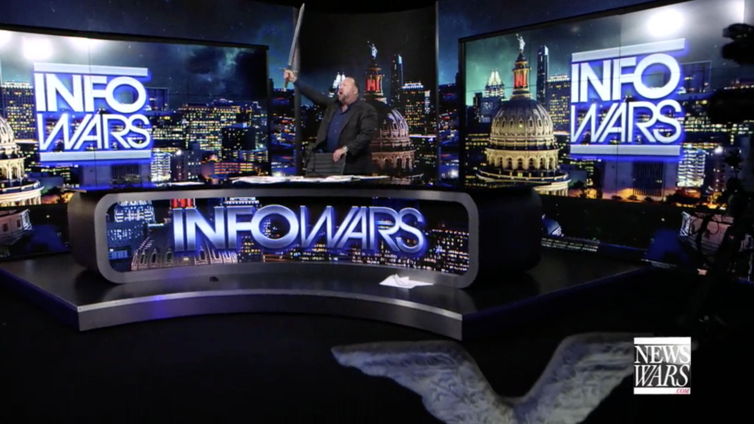 Alex Jones With A Sword In Infowars Studio EXZM September 25th 2020