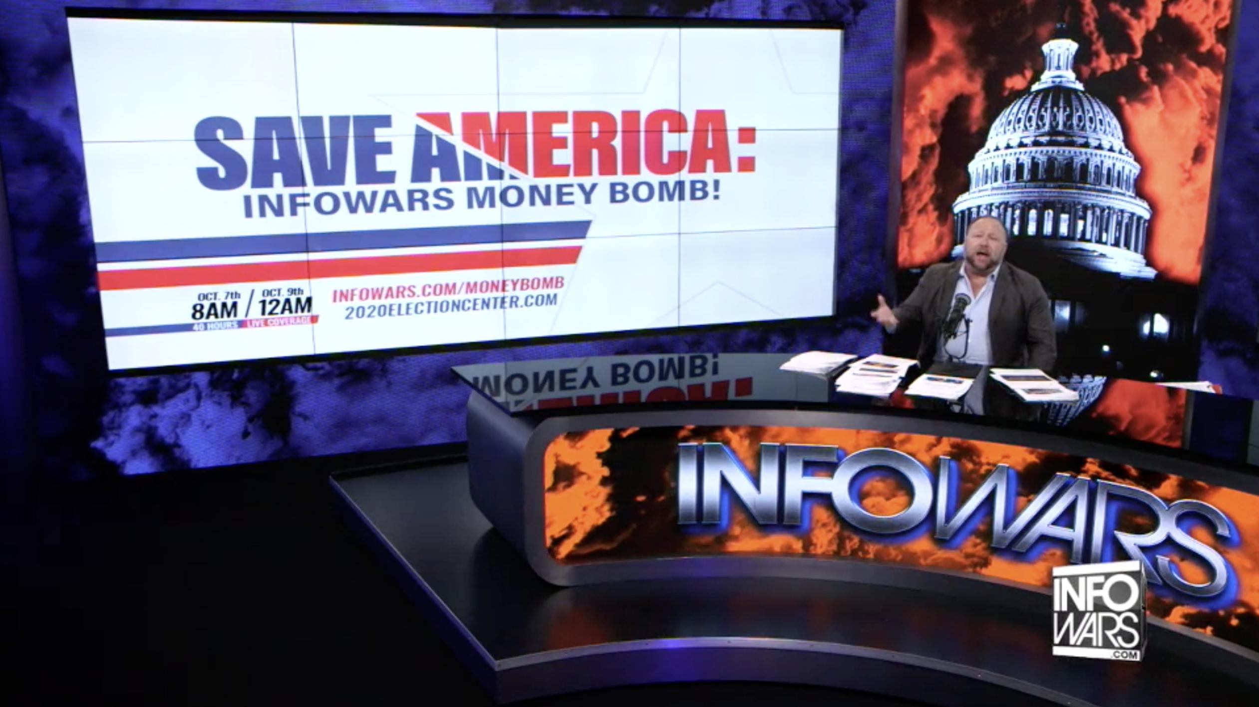 Alex Jones Save America Moneybomb In Infowars Studio EXZM October 7th 2020