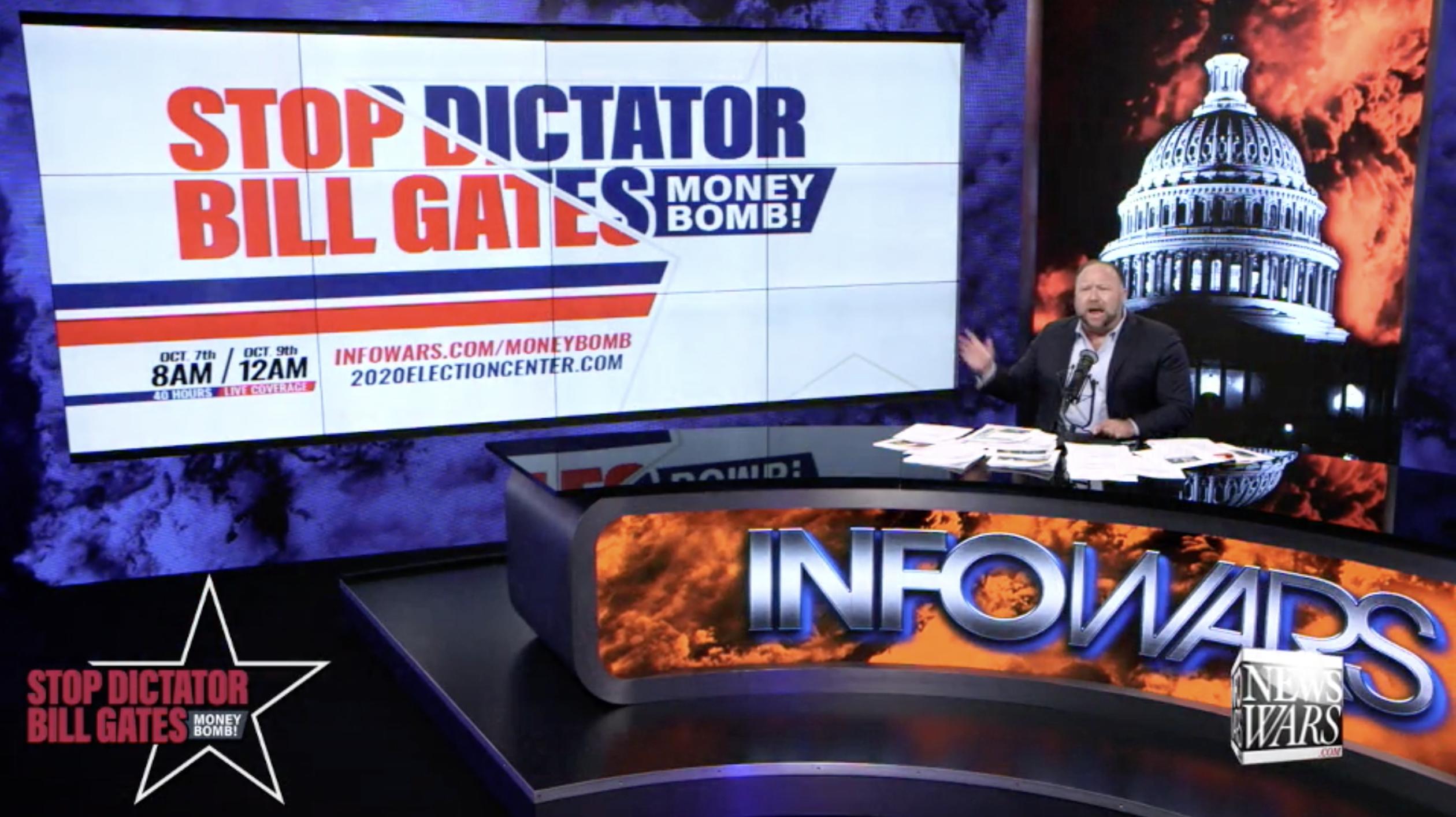 Alex Jones Stop Dictator Bill Gates Moneybomb In Infowars Studio EXZM October 8th 2020