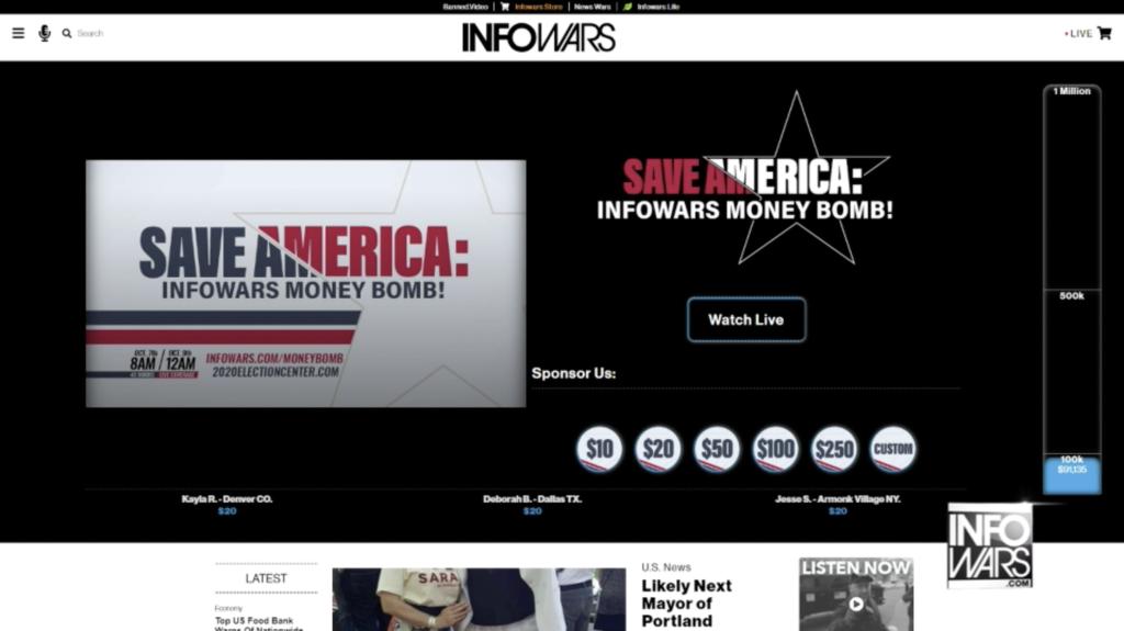 Save America Moneybomb In Infowars Studio EXZM October 7th 2020 1