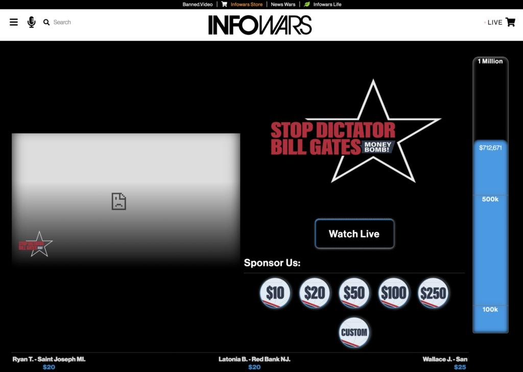 Stop Dictator Bill Gates Moneybomb In Infowars Studio EXZM October 8th 2020 2