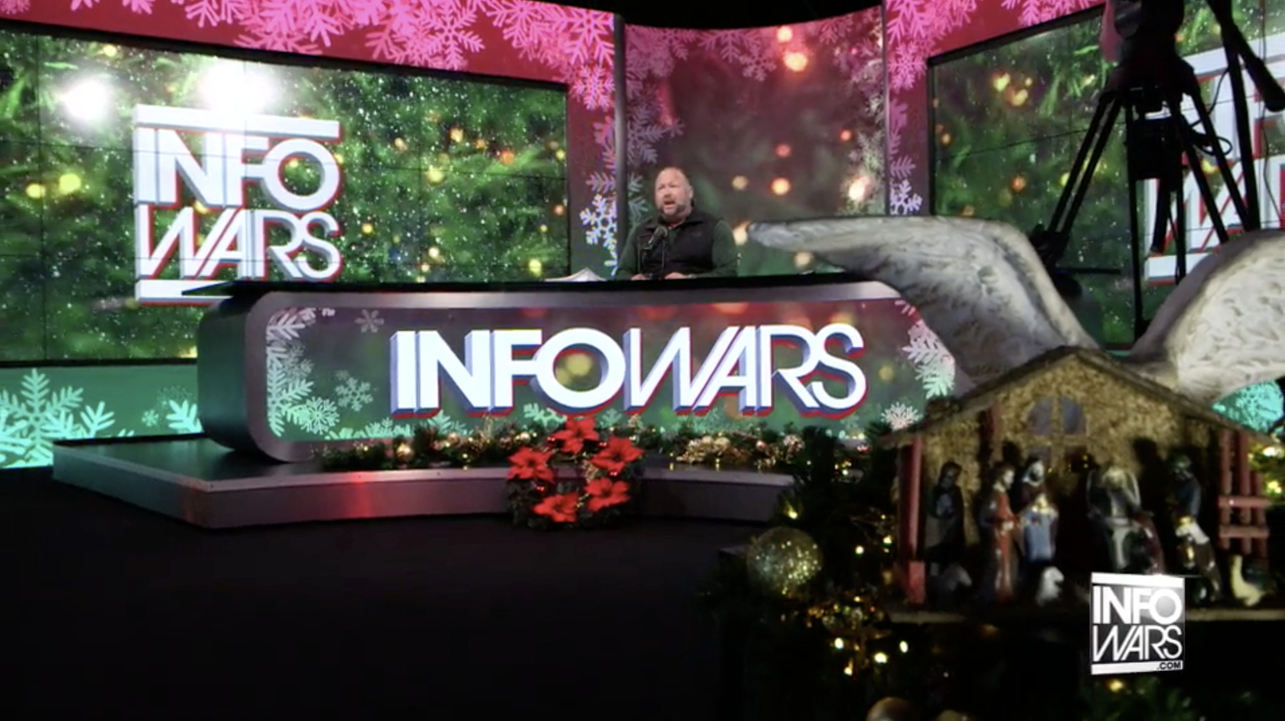 Alex Jones Christmas Angel Wings Infowars Studio EXZM Zack Mount December 15th 2020