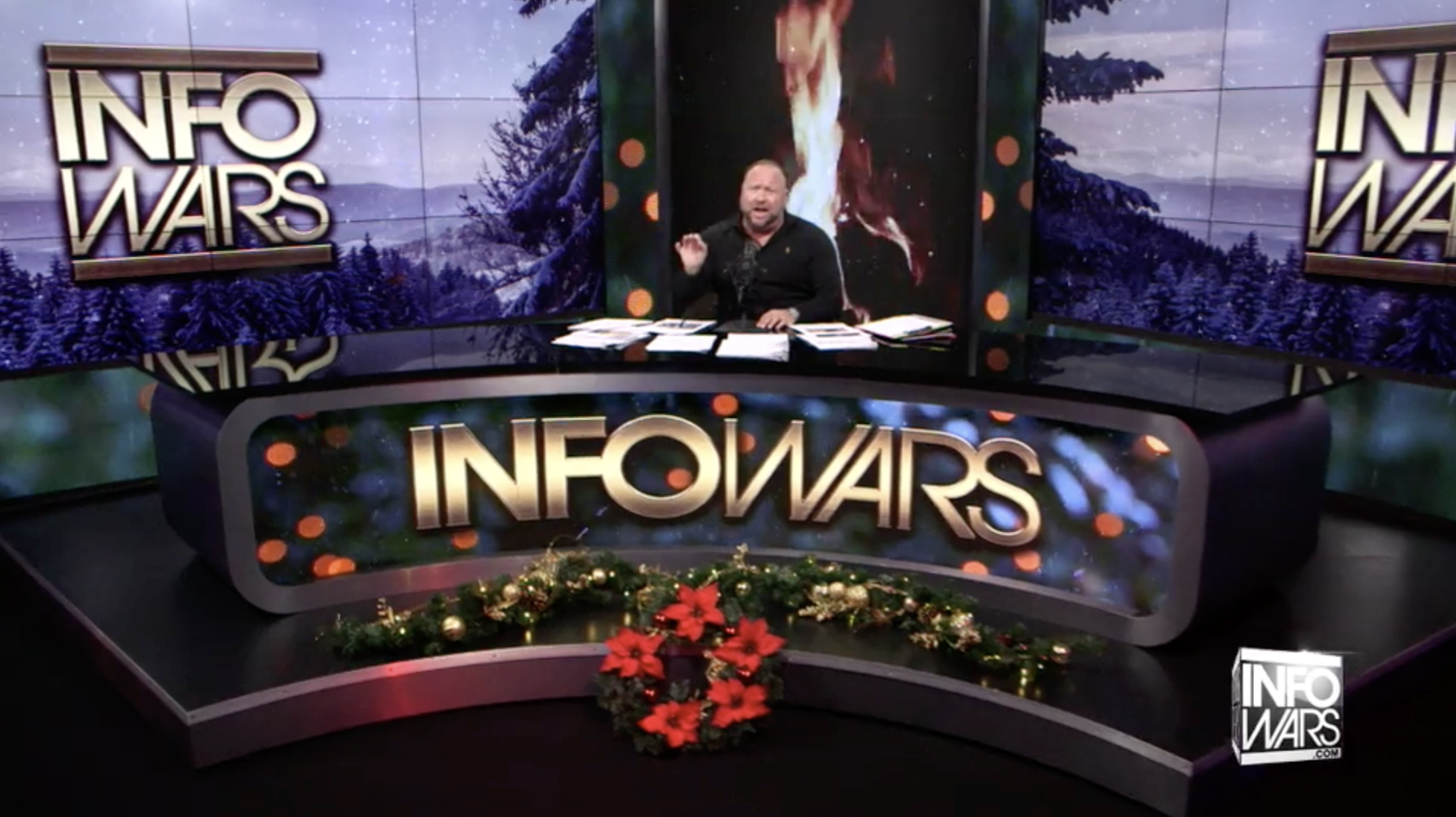 Alex Jones Christmas Fire Snow Infowars Studio EXZM Zack Mount December 16th 2020