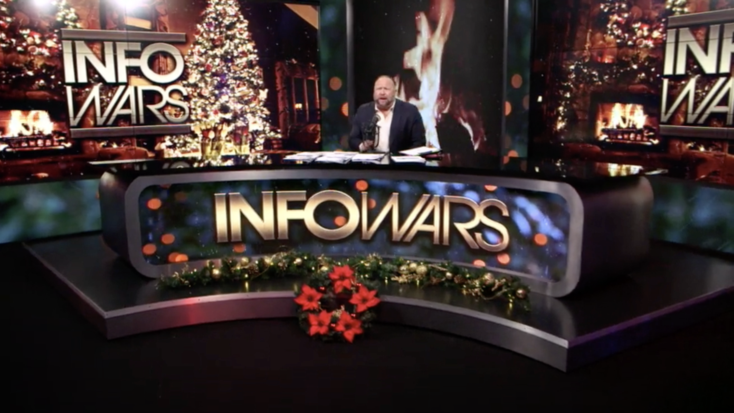 Alex Jones Christmas Tree Fire Infowars Studio EXZM Zack Mount December 17th 2020