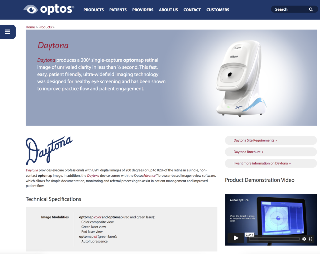 Optos Daytona Eye Retina Scanners December 13th 2020
