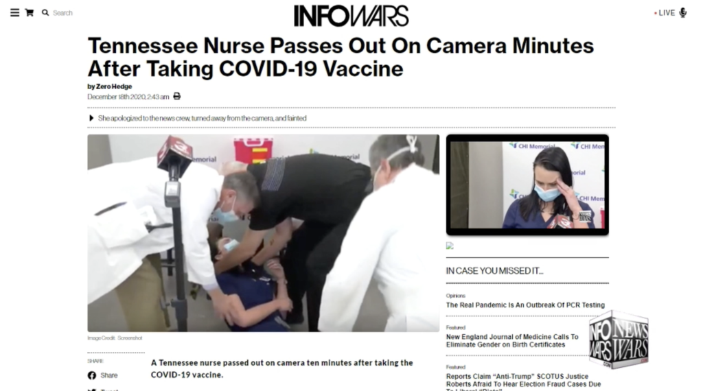 Tennessee Nurse Passes Out On Camera Minutes After Taking COVID19 Vaccine Alex Jones Infowars December 18th 2020