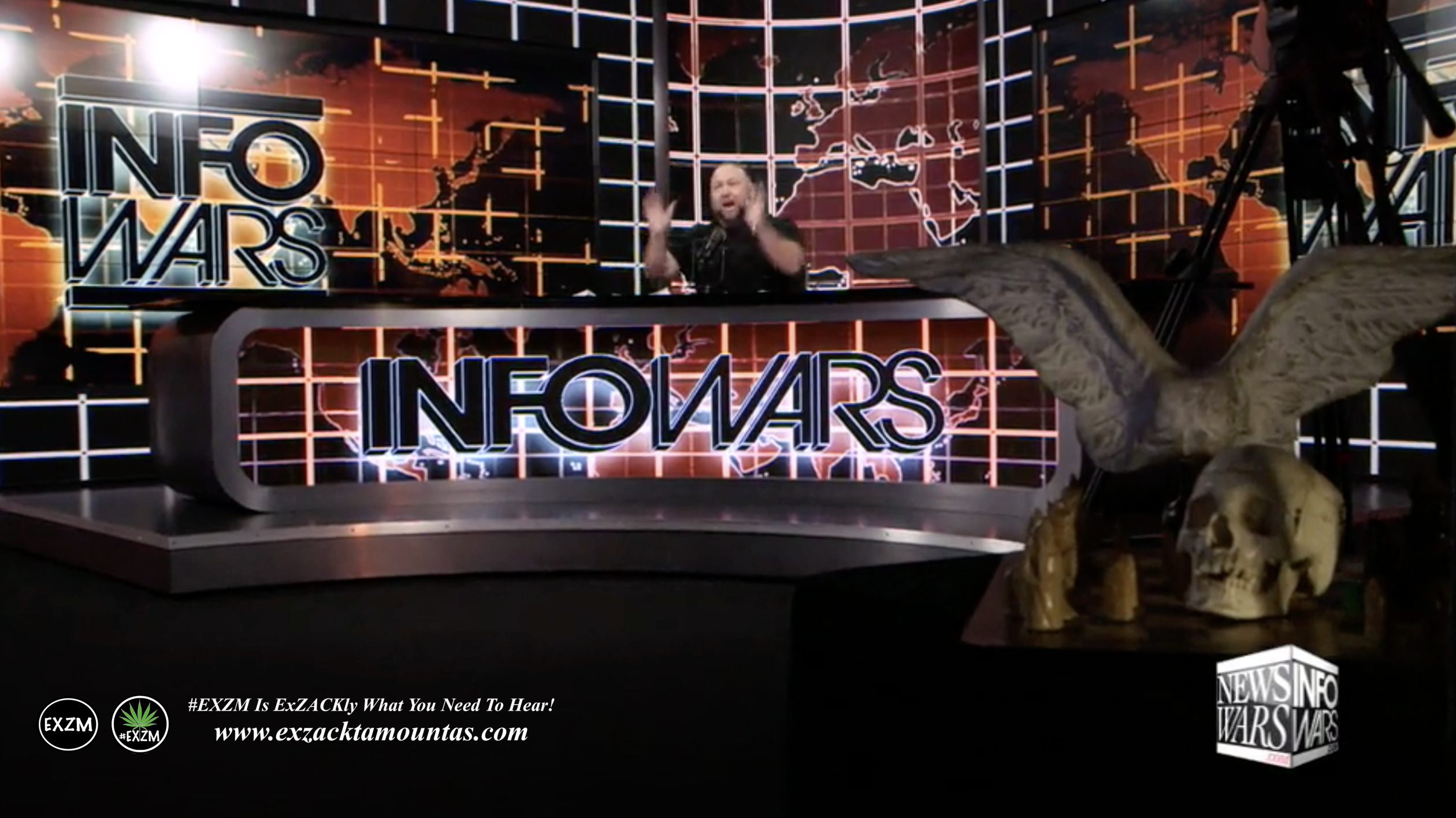 Alex Jones Infowars Studio Skull Angel Wings Sword EXZM Zack Mount January 31st 2021 copy