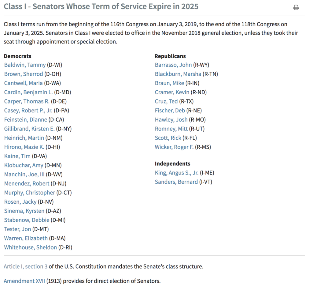 Class I Senators Whose Term of Service Expire in 2025 EXZM Zack Mount January 23rd 2021