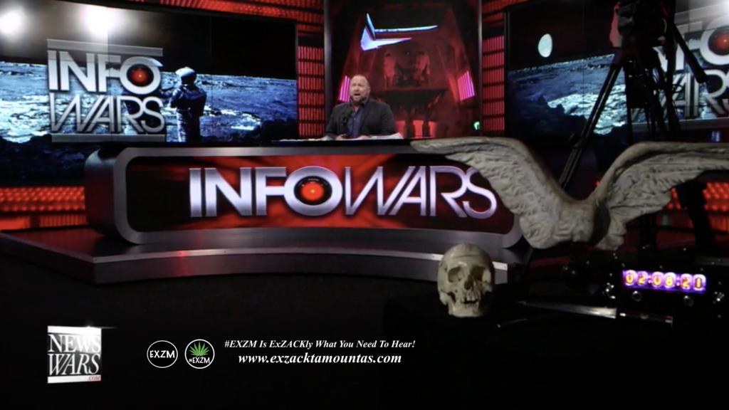 Alex Jones Infowars Studio Human Skull Angel Wings EXZM Zack Mount February 8th 2021 copy