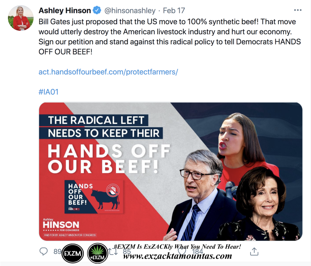 Ashley Hinson's Tweet about Petition telling Bill Gates, AOC, and Pelosi to KEEP THEIR HANDS OFF OUR BEEF EXZM Zack Mount February 21st 2021 copy