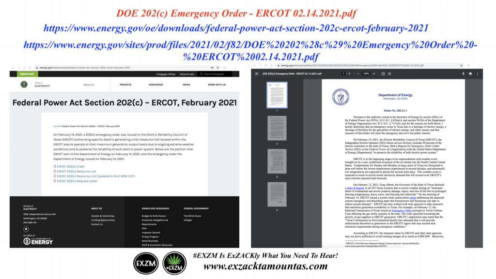 DOE 202 c Emergency Order ERCOT 02 14 2021 pdf Alex Jones Infowars EXZM Zack Mount February 19th 2021