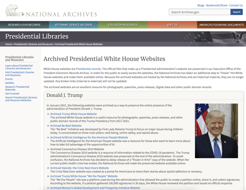National Archives Archived Presidential White House Websites Website EXZM Zack Mount February 5th 2021