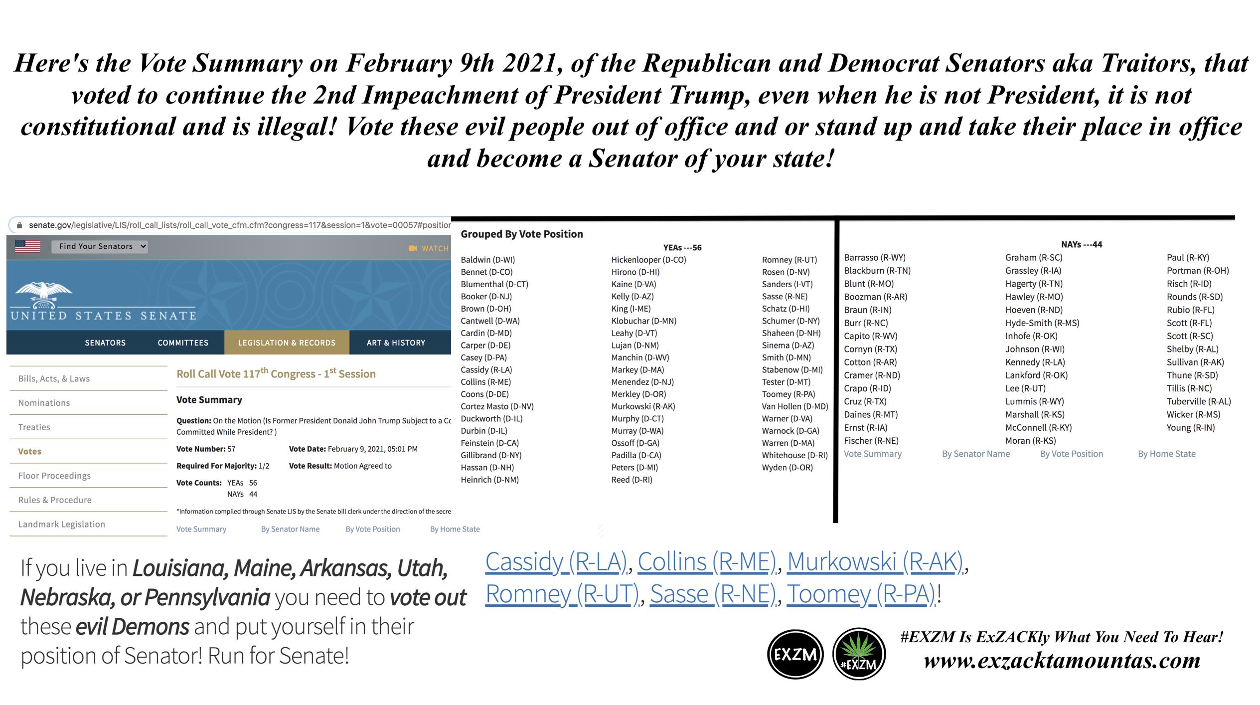 Republican Democrat Traitors voted to continue 2nd impechment President Donald Trump EXZM Zack Mount February 10th 2021