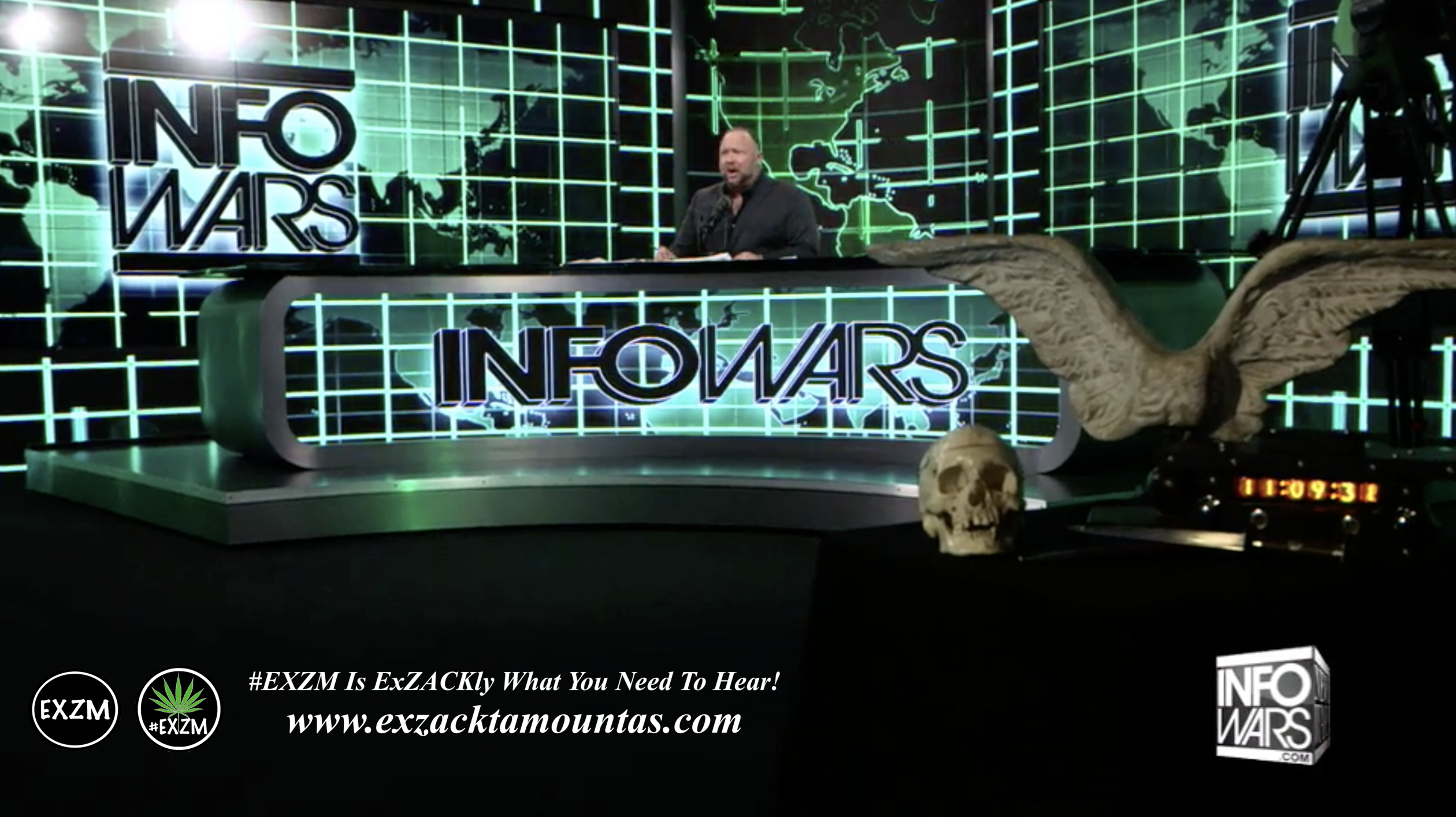 Alex Jones Live Infowars Studio Angel Wings Human Skull EXZM Zack Mount March 1st 2021 copy