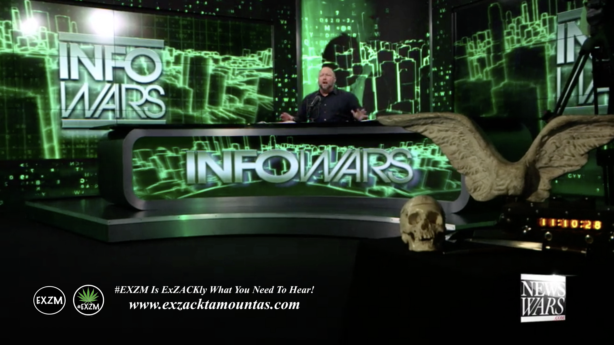 Alex Jones Live Infowars Studio Human Skull Angel Wings EXZM Zack Mount March 3rd 2021 copy