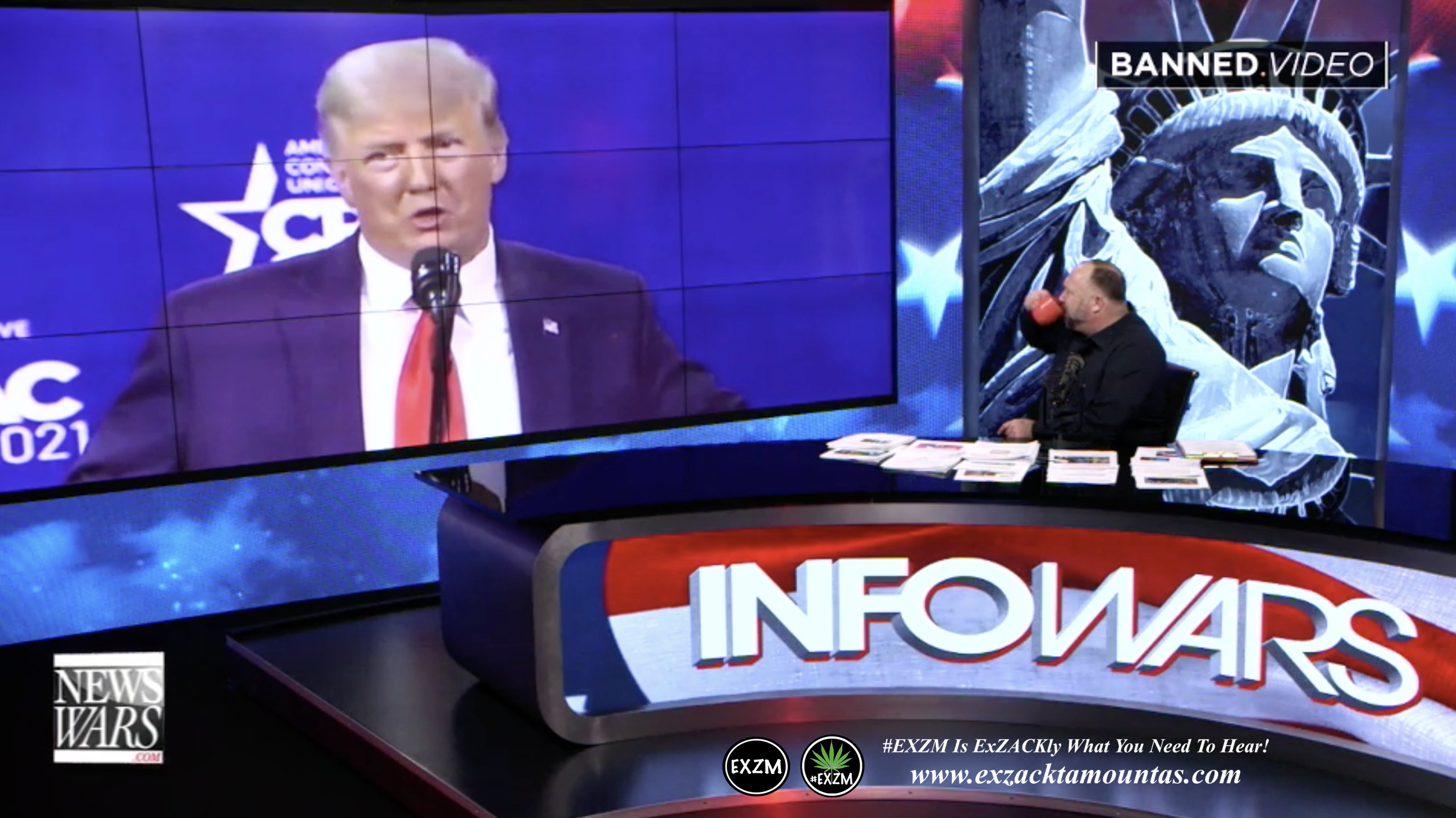 Alex Jones Live Infowars Studio President Donald Trump CPAC EXZM Zack Mount February 28th 2021 copy