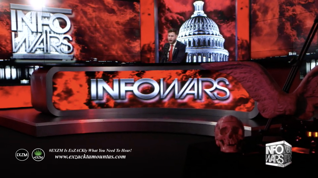 Owen Shroyer Live Infowars Studio Red Angel Wings Red Human Skull EXZM Zack Mount March 11th 2021 copy