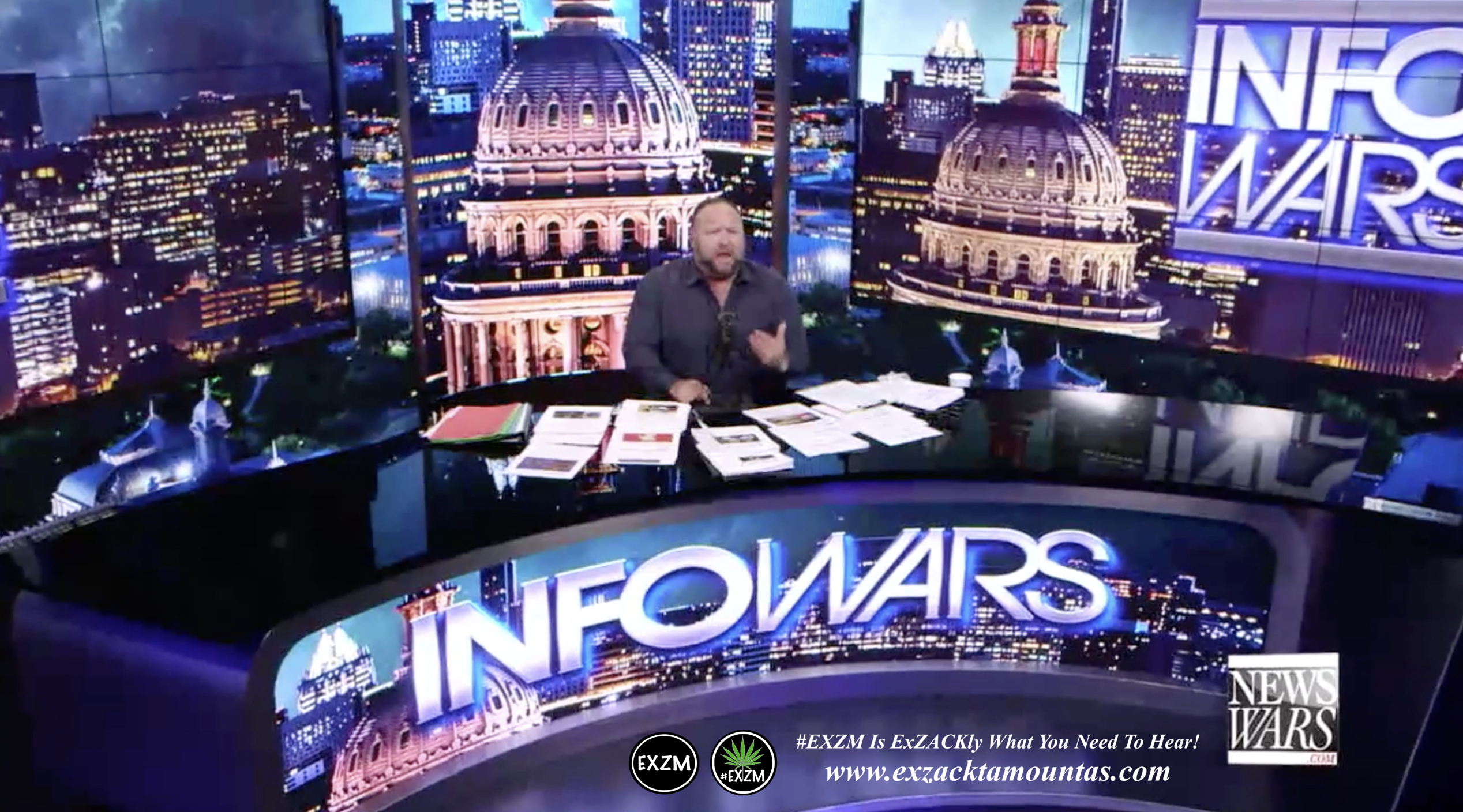 Alex Jones Live Infowars Studio EXZM Zack Mount April 16th 2021 copy